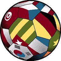 Детский коврик Футбольный мяч со флагами фризе Kolibri 11110-180 КРУГ
