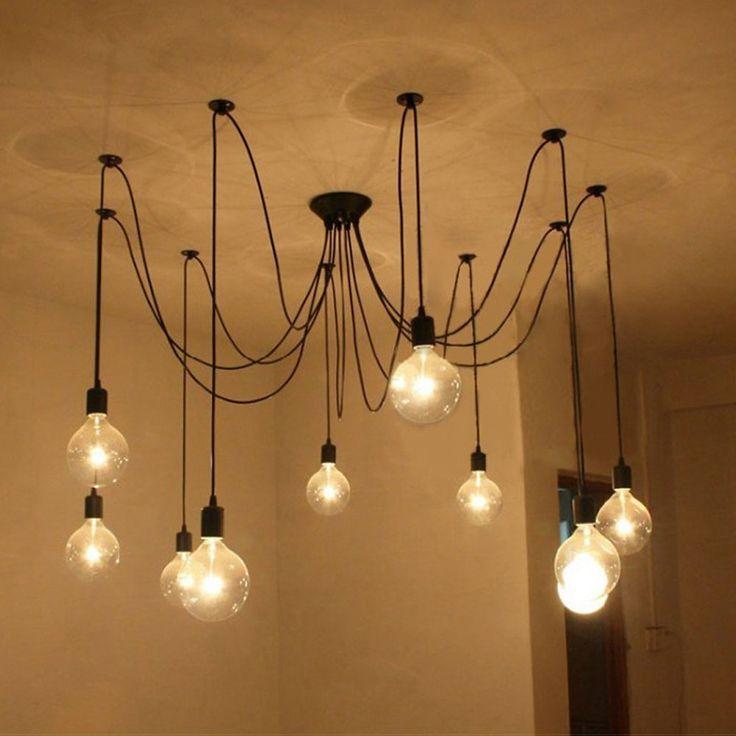 Fuloon Vintage Edison Multiple Ajustable DIY Ceiling Spider Lamp Light Pendant Lighting Chandelier Modern Chic Industrial Dining - - Amazon.com