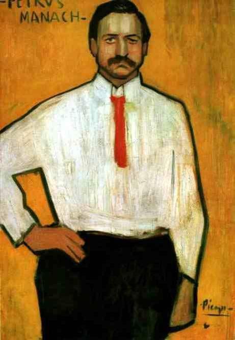 파블로 피카소  Pere Manyac, 1901   캔버스의 유채  미국 워싱턴 국립미술과 소장      피카소의 색채적 도전뿐만이 아니라 대상의 재구성이 보이는 작품이다  손을 보면 대상을 있는 그대로 그리는 것이 안이라 단순화 시켜 그림으로 표현하였다.