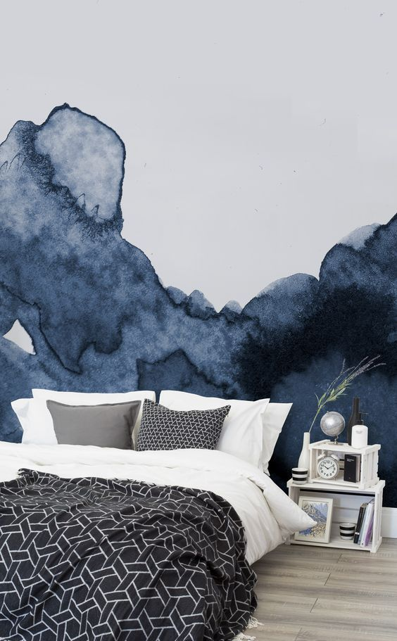 Deep Blue Waves Watercolor Wall Mural