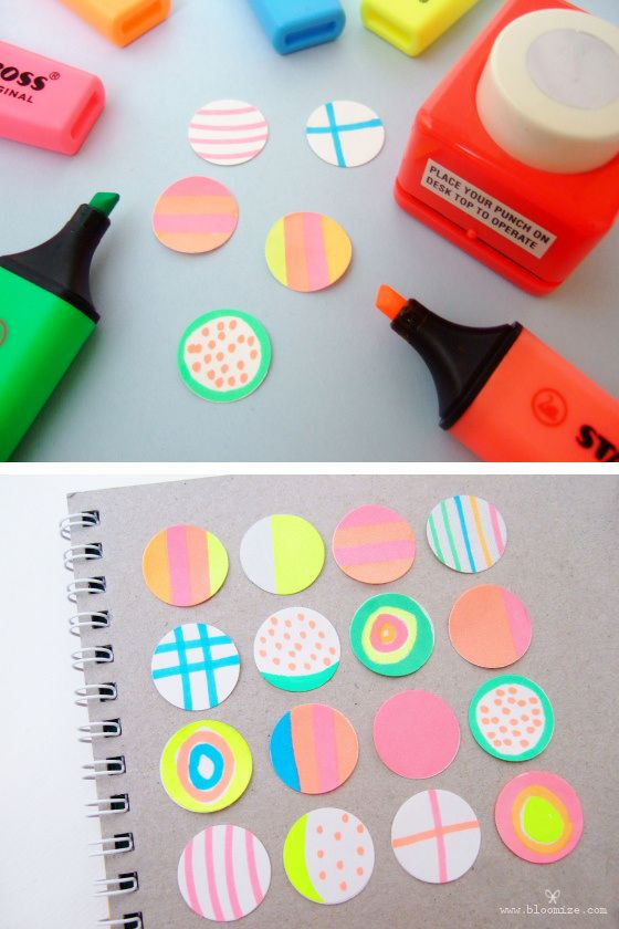 diy : neon stickers with highlighters