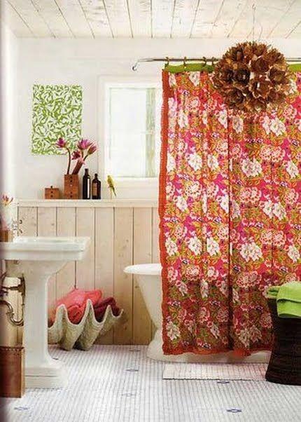 Pretty boho chic bathroom. Love that boho shower curtain & pops of lime.