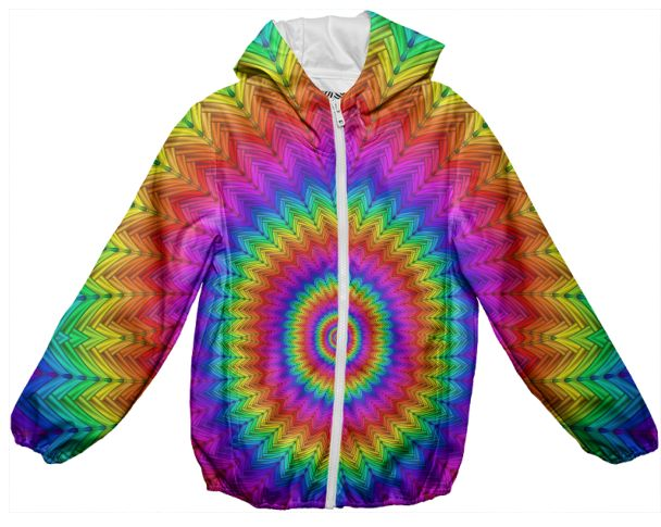 Psychedelic Rainbow Kids Rain Jacket from PAOM