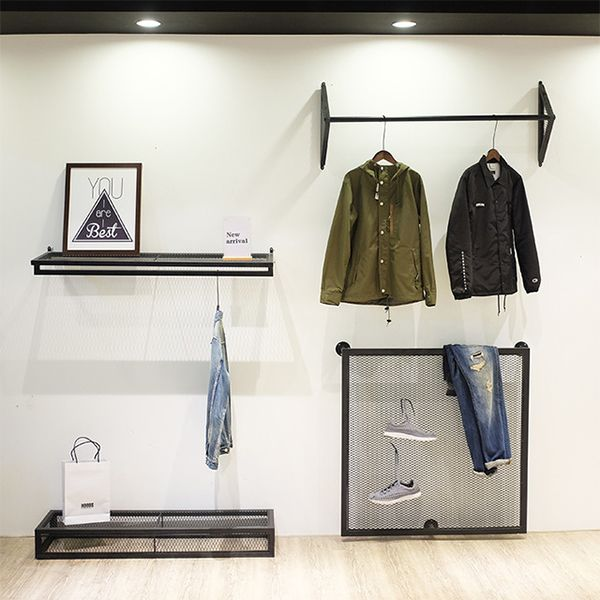Store Wall Hanging Apparel Display Stands Supplies 1 Wall Mounted Clothing Rack Clothing Rack Clothing Displays