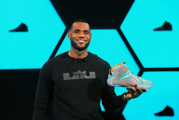 LeBron James introduces the LeBron 12 shoe at the Nike World Headquarters in Beaverton, Ore.,Tuesday, Sept. 16, 2014.