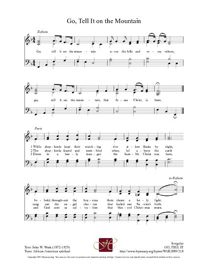 Go, Tell It on the Mountain - Hymnary.org | Church songs, Bible songs, Praise songs