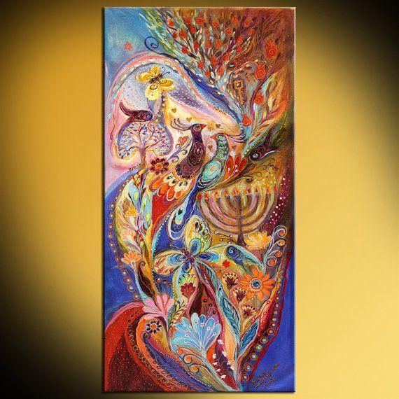 Jüdische Kunst original Gemälde Chanukka im Magic