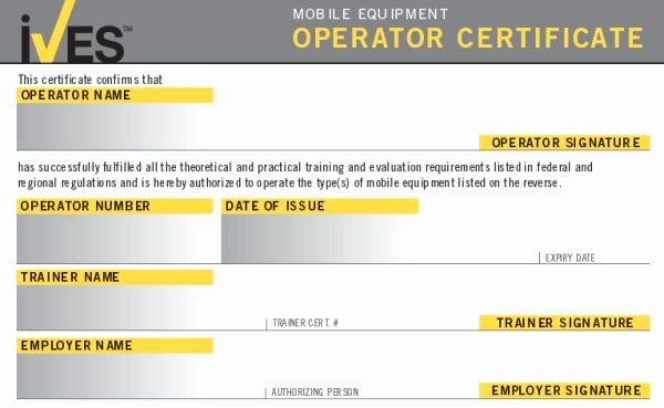 Equipment Operator Certification Card Template Beautiful Forklift License Template Wallet Size Nex Forklift Training Certificate Templates Training Certificate