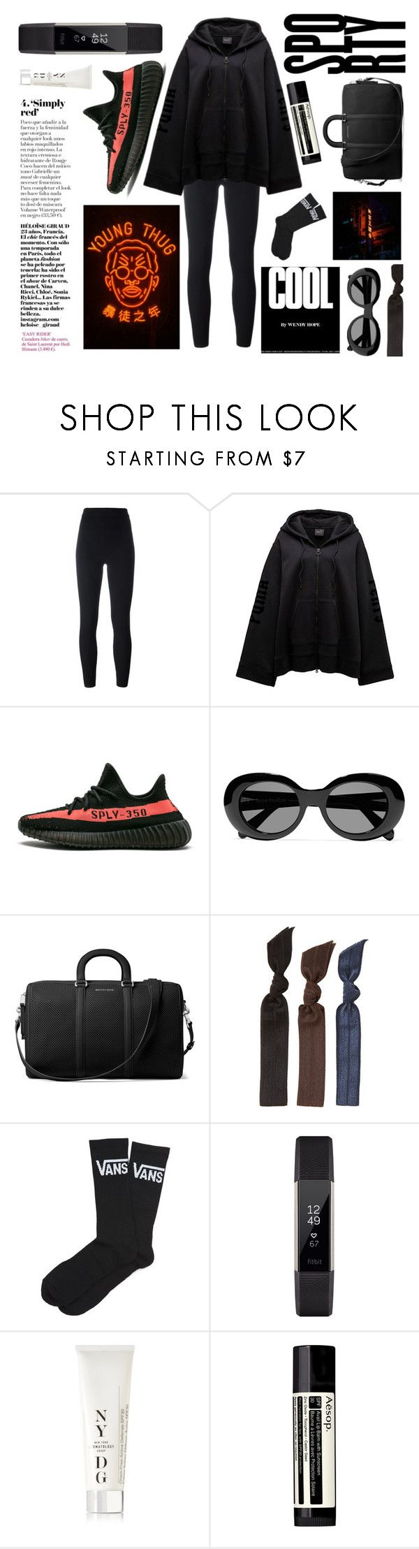"""SPORTY"" by seetheotheroceans ❤ liked on Polyvore featuring Yeezy by Kanye West, Acne Studios, MICHAEL Michael Kors, Emi-Jay, Vans, Fitbit, NYDG and Aesop"