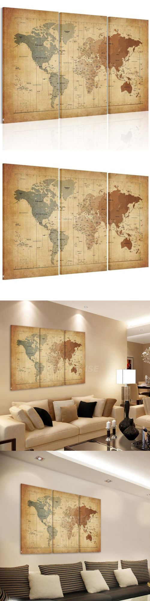 art paintings mixed media collage vintage framed world map canvas prints wall art paintings ready