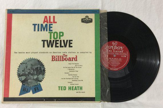 Ted Heath All Time Top Twelve The Billboard Vintage Vinyl Record Album 33 rpm lp 1957 London Records LL 1716 by NostalgiaRocks