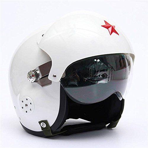 Amazon.fr : AUDEW Moto Scooter Casque Air Force Jet Pilot Vol DOT ECE Ouvert Visage Casque Blanc