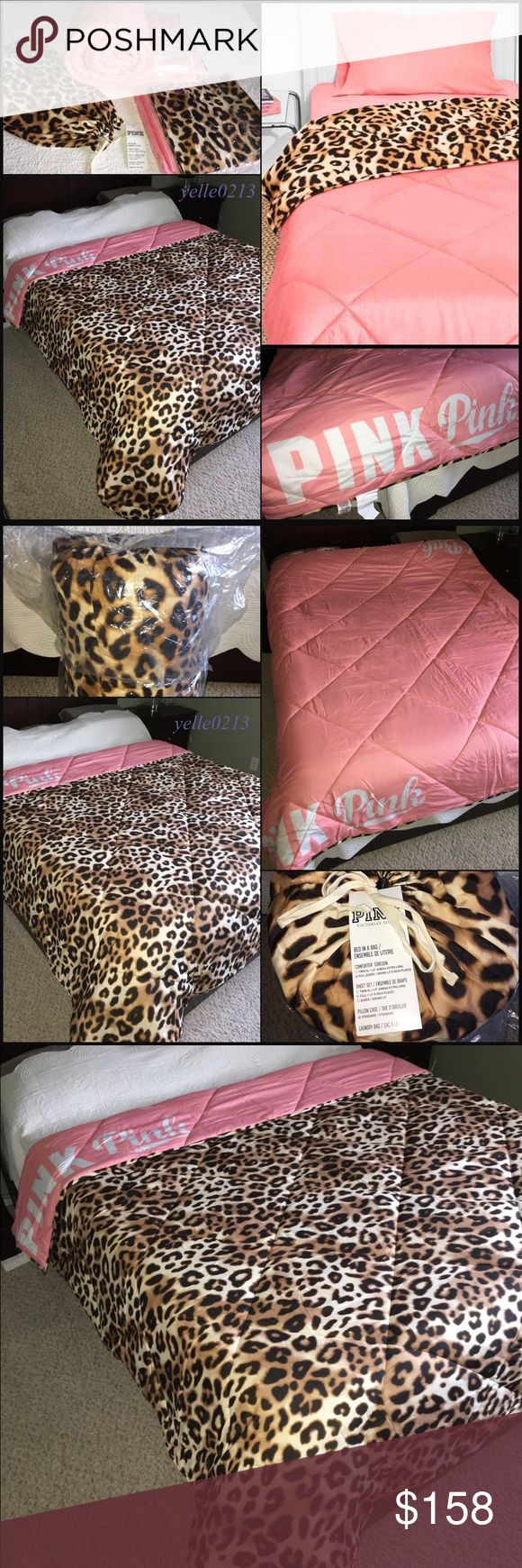"""🎉SALE🎉New VS PINK Bed in a Bag F/Q Nwt VS PINK Bed in a Bag Set..  Size full/queen..  Leopard Hot Pink Colorblock..  Includes: 1 Fitted Sheet 1 Bed Sheet  2 Pillow Cases 1 Reversible Comforter 84"""" x 88""""  BRAND NEW NEVER USED..  Thank you.. PINK Victoria's Secret Accessories"""