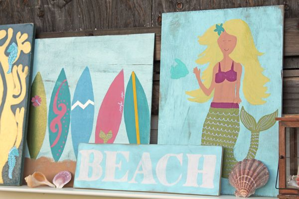 The beach signs were one of the first projects I started for the mermaid party. I was flipping through a Pottery Barn Kids catalog, coveting every beachy thing, and thought I'd just see if I could draw a mermaid. I think it's important to know our own limits, and free-hand anything is one of mine. …