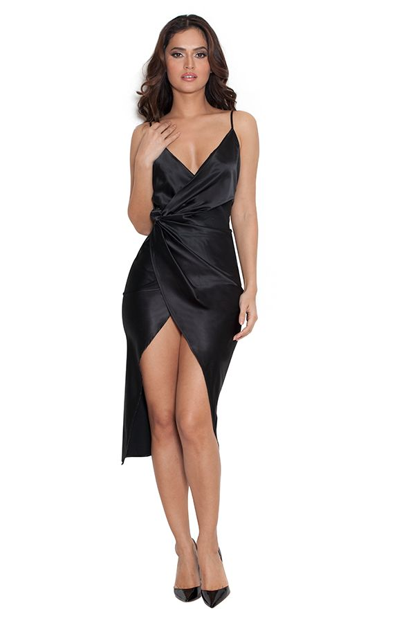 Clothing : Bodycon Dresses : 'Coco' Black Satin Drape Back Dress