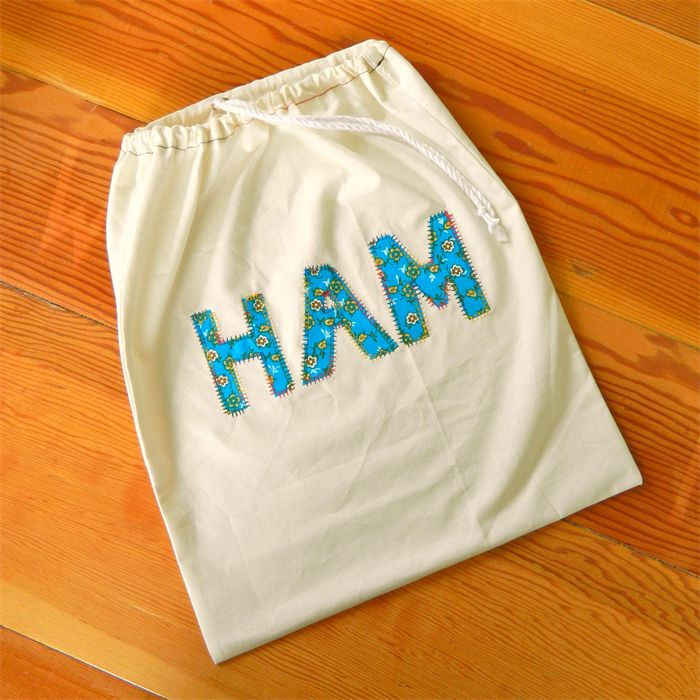 Ham bag - drawstring linen christmas ham bag