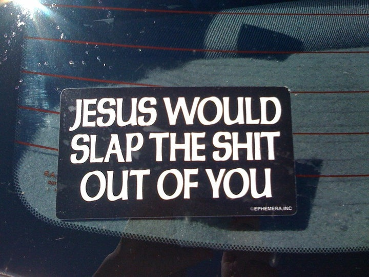 Funny atheist car bumper stickers my dinosaur ate your jesus fish who would jesus bomb critical thinking