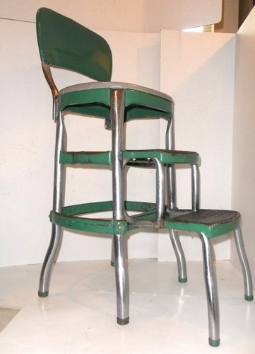 Vintage Green Cosco Step Stool Chair 1950 S Vinyl Chrome
