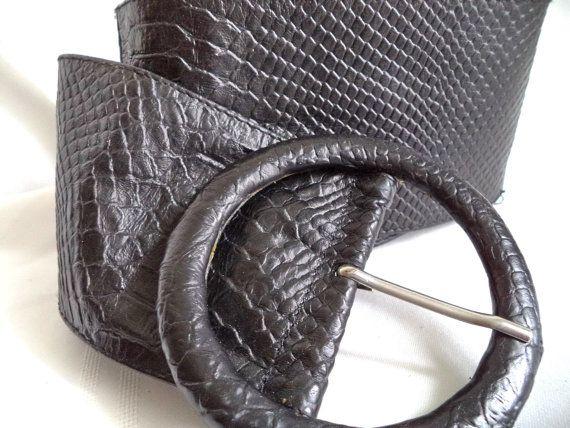 Belt 80s Faux snakeskin Black Wide Soft Leather by MushkaVintage3