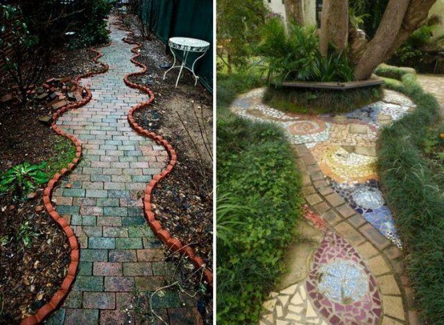 allées-jardin-pavés-béton-bordure-mosaique-colorée