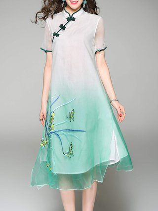 Silk Stand Collar Short Sleeve Casual Embroidery Midi Dress