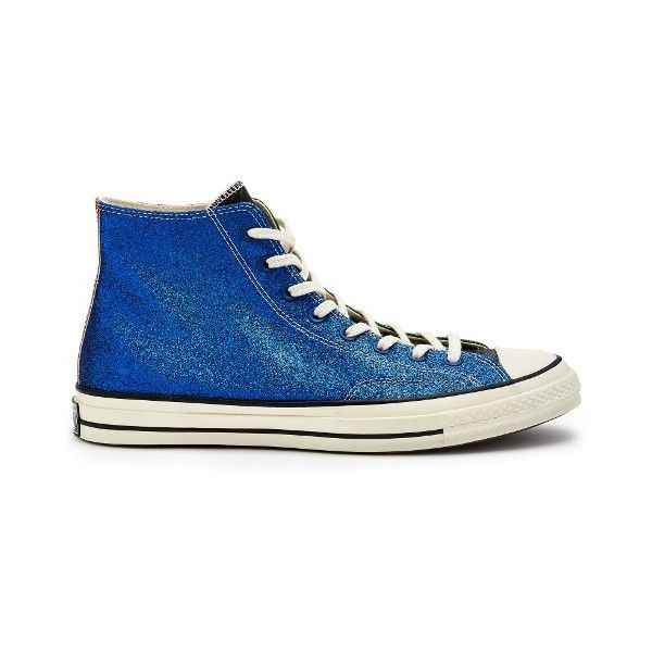 Converse x JW Anderson X JW Anderson glitter high-top trainers (€120) ❤ liked on Polyvore featuring men's fashion, men's shoes, men's sneakers, blue multi, shoes, mens leather high top shoes, mens leather high top sneakers, mens leather sneakers, mens glitter shoes and mens blue leather shoes