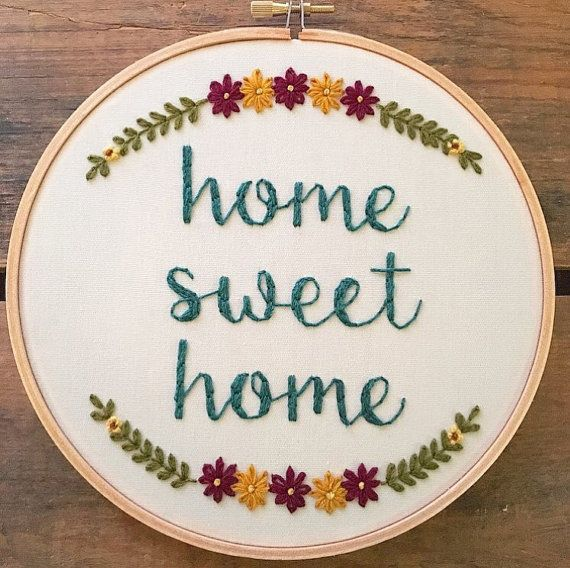 Home Sweet Home embroidery hoop by bugandbeanstitching on Etsy
