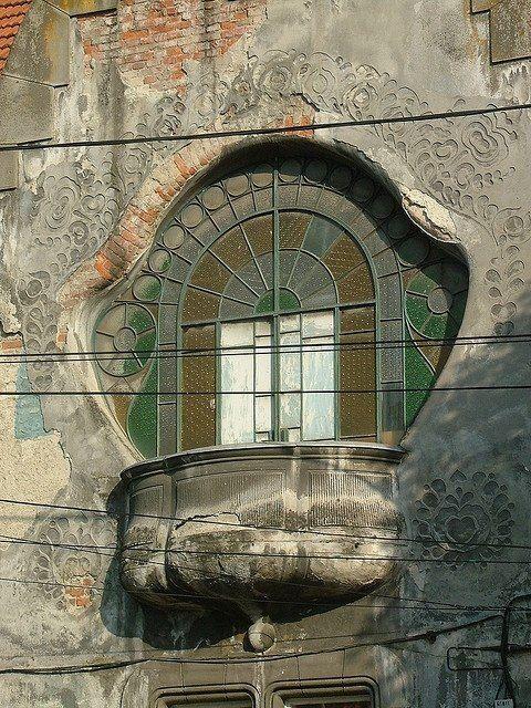 surprisingromania:  Art nouveau window in Romania