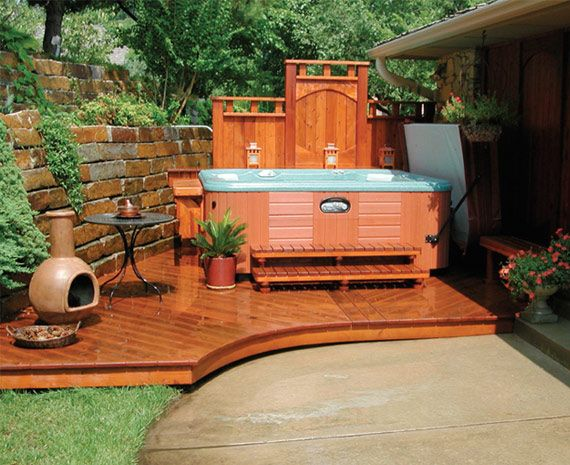 Hot tub privacy corner deck and design on pinterest for Small backyard privacy ideas
