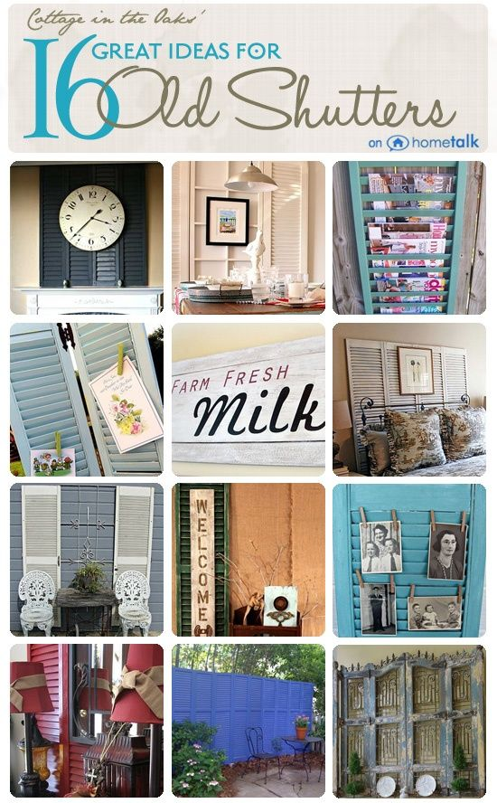 DIY:: #16 Beautiful Budget Home Decor Projects Using repurposed old shutters ! Each has Own Tutorial !