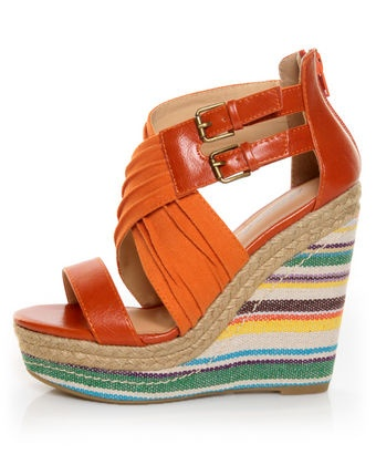 Soda Wilbur Orange Espadrille Stripes Platform Wedges