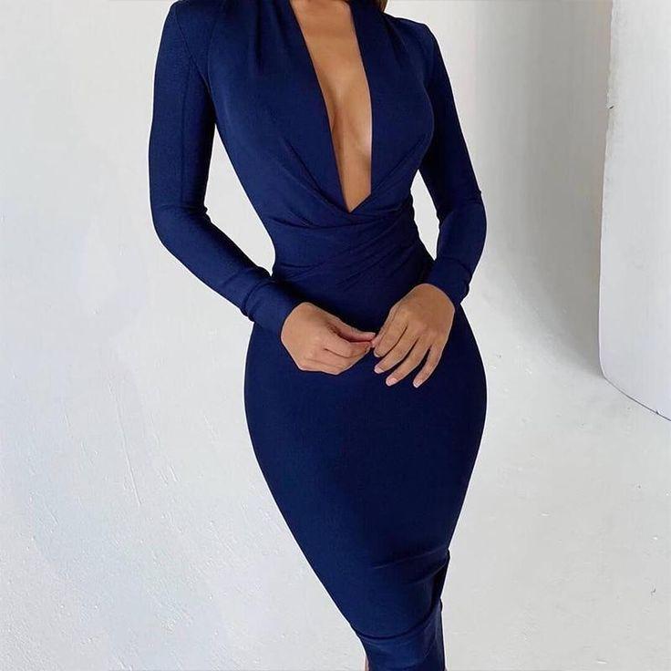 Isle- Navy Blue Deep V Neck Bandage Dress