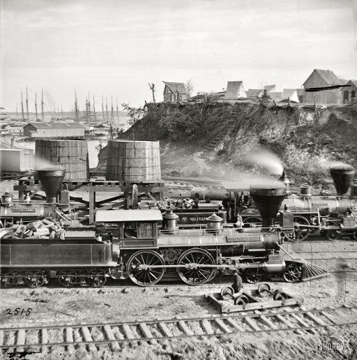 Gen. J.C. Robinson and other locomotives of the U.S. Military Railroad. From views of the main Eastern theater of war, the siege of Petersburg, June 1864-April 1865.  City Point, Virginia, circa 1865