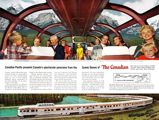 Canadian Pacific Canadas Scenic Domes 1956 - www.MadMenArt.com features over 400 Vintage Train Ads, Posters and Magazine Covers from 1891 until 1970. #Vintage #Trains #Railroads #Railways #Locomotives #Locomotion