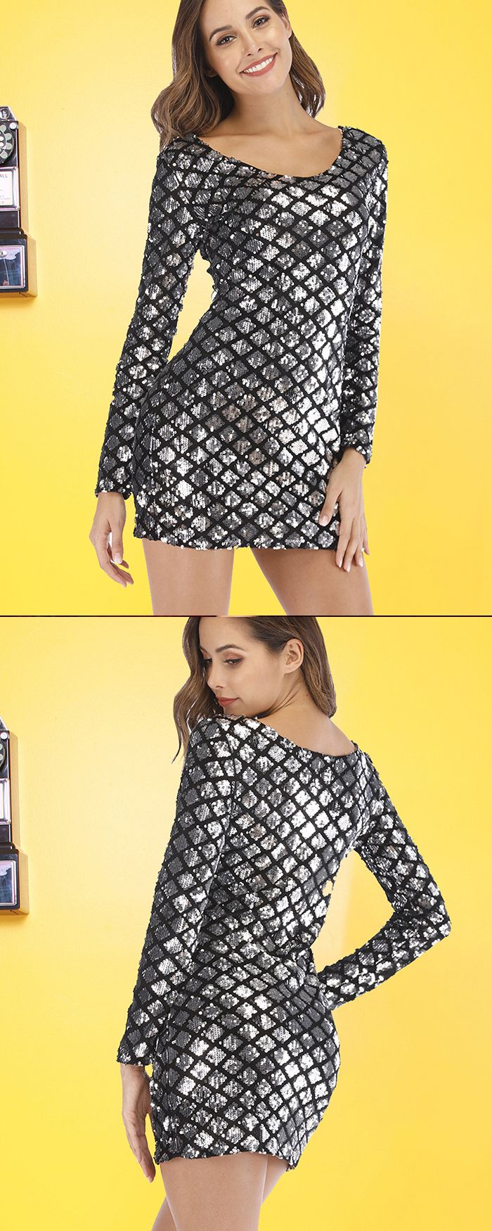 Scoop Glitter Fish Scale Bodycon Club Dress with Long Sleeves Q198