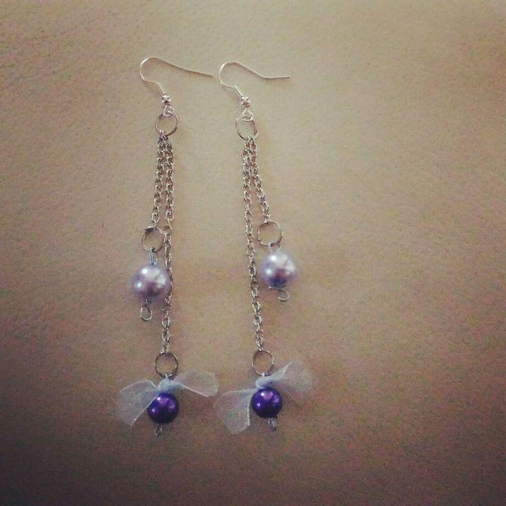 #orecchini #perle #viola #fiocco #faidate #faidame