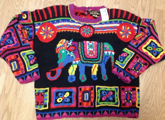 Knitting Jumpers For Elephants Fake : Elephant india vintage s sweater hipster colorful knit