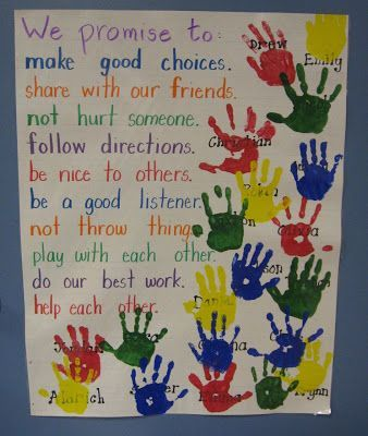 "Our Promise To Each Other - Social Contract. To make it official, students put their ""I promise"" hand print on the poster. Older students could also sign their hand."