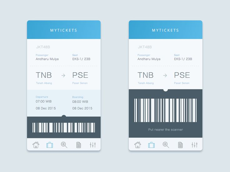 Playing with ticket concept,  Just click the barcode if you wanna check in. Voila! bigger barcode.  And ready to go.