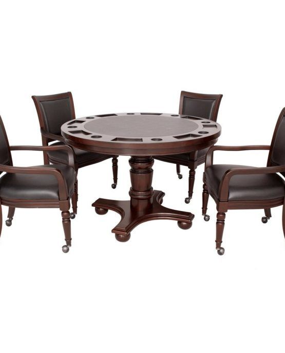 Hathaway Bridgeport Poker Game Table Set    Table Dimensions: 48-in w x 48-in D x 30-in that; Chair Dimensions: 26-in w x 25-in D x 37.5-In that (ear)  Dining table surface quickly turns into a felt-lined Game table surface with an easy flip of the table top  Constructed from hardwood and mdf carb certified material; beautiful multi-step furniture finish in walnut  Soft, padded chair cushions upholstered in a durable black vinyl  Table includes built-in drink Holders and chip slots