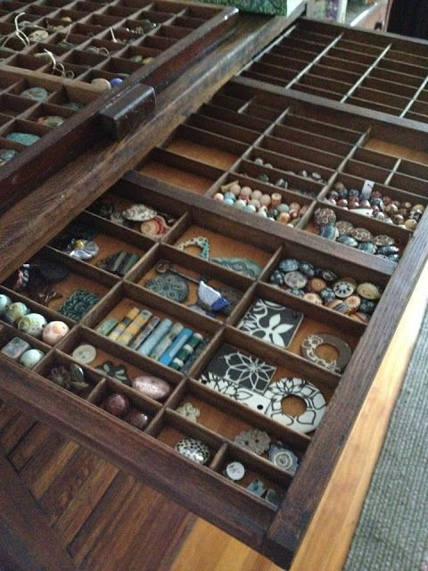 Bead organization in letterpress cabinet