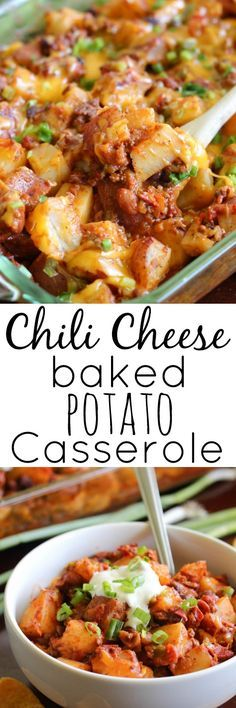 Chili Cheese Baked Potato Casserole - Turn leftover chili into one of the easiest and most delicious meals that your whole family will love.