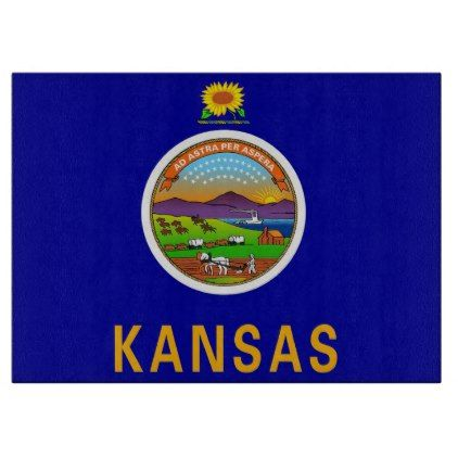 #Glass cutting board with Flag of Kansas USA - #trendy #gifts #template