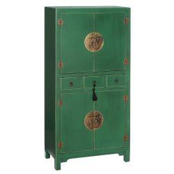 Armoire 4 portes, 3 tiroirs verte meuble chinois - pekin - l 63 x l 33 x h 131 - neuf