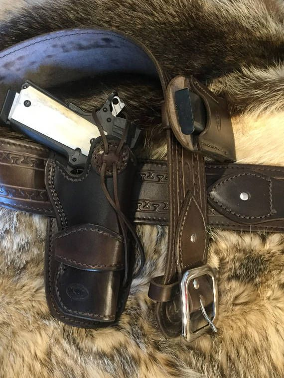 "Western style leather Colt 1911 gun rig with 39"" - 42"" range 3"" gun belt, LINED 1911 5"" pistol holster and a mag holder for single stack .45"