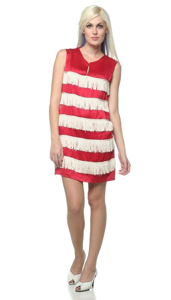 Flapper Fringe Dress 60s Party Cocktail Red White Tassel ...