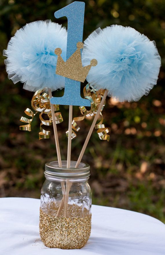Little prince birthday party blue and gold baby boy photo
