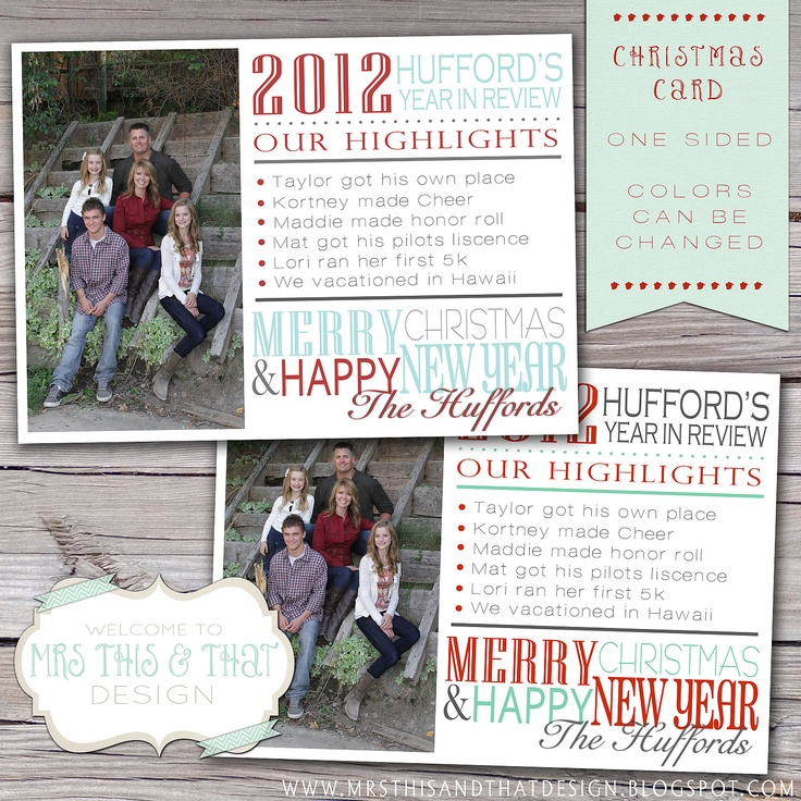 Year In Review Christmas Card Etsy Cards Pinterest