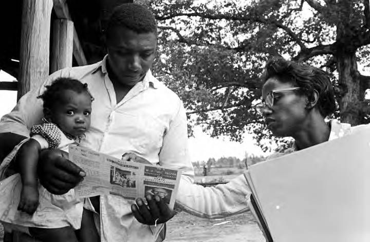 SNCC Research Dept dug out names and mapped networks to reveal the flow of corporate political power in the south. Knowledge of who owned what was crucial to SNCC's strategies. Click for story of how they used power research to inform field strategies, tactics, and targets.