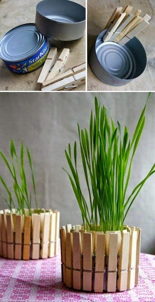 DIY Clothespin flower pot. #diy